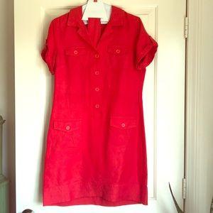 Banana Republic Red Linen Shirtdress